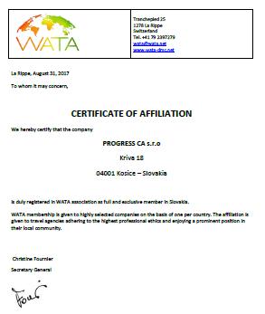 WATA certifikát